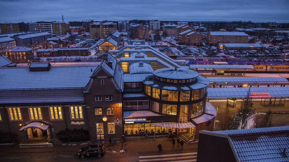 The main building of the railway station in the centre of Hässleholm, taken from above in wintertime.