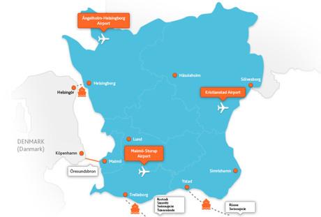 Karta Skane Och Danmark.How To Get Here Hassleholm Tourist Center